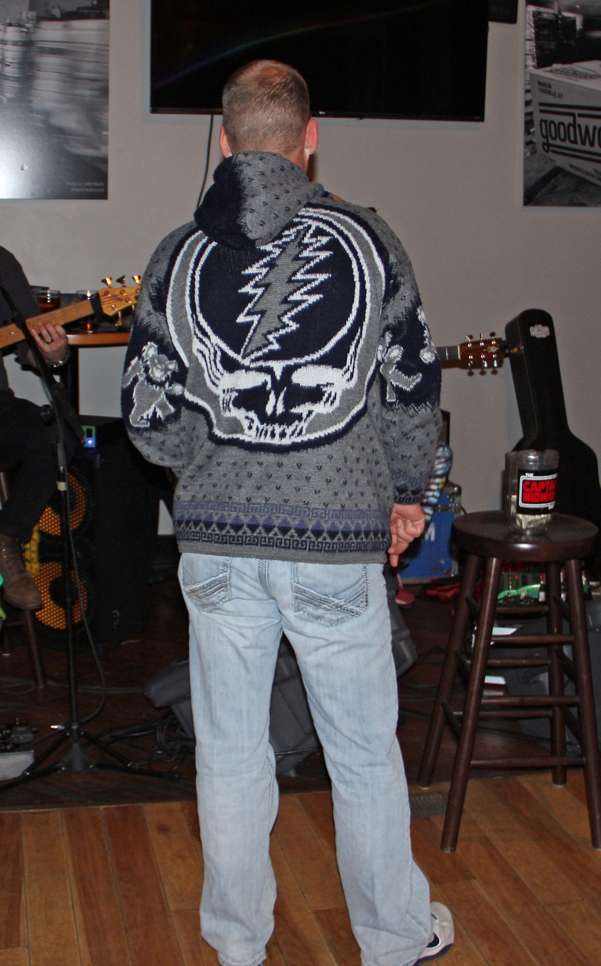 Grateful Dead sweater. This is either the hippest thing ever or the dorkiest. But that's the whole point of an ugly sweater party isn't it?