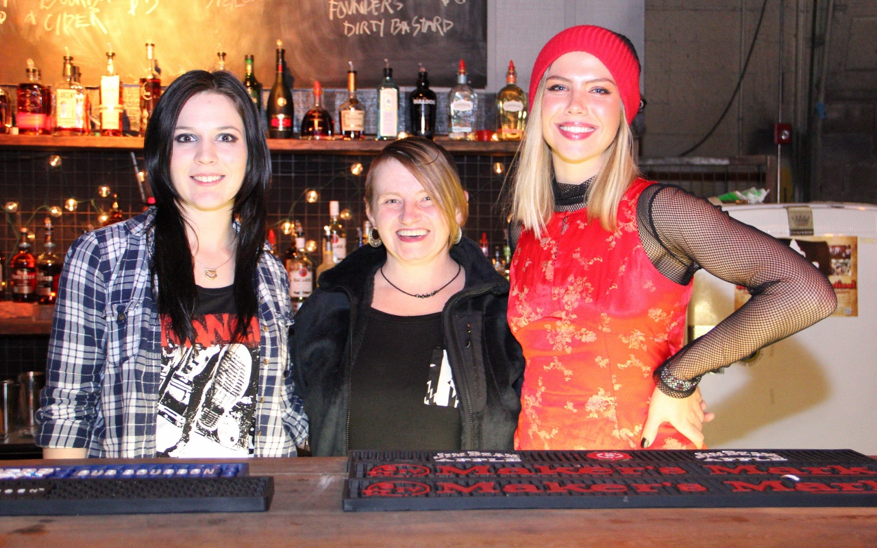Our more-than-competent bartenders - Lisa Davis and Whitney Olsen and Jamie Stevens
