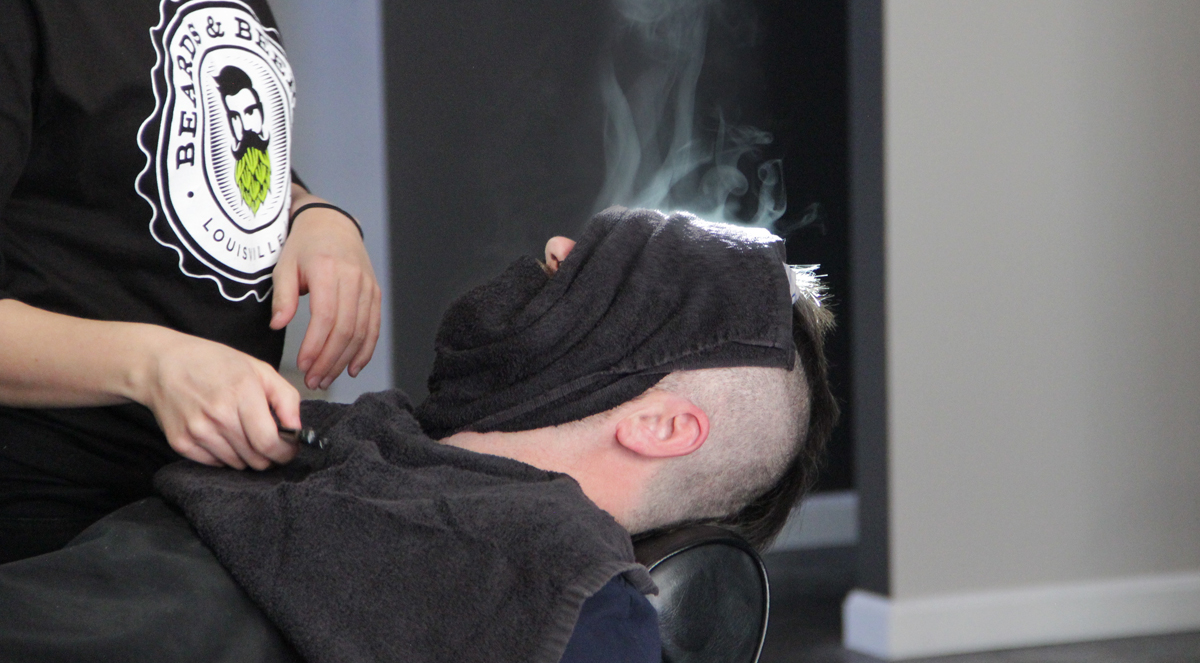 The hot towel treatment at Beards and Beers - Down Home Luxury