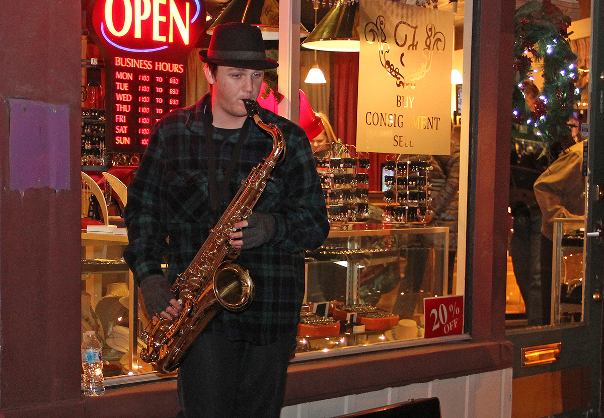 Weston Sharpe blowing the Christmas tunes